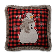 "Fur Snowman Square Red/Black 18"" Throw Pillow"