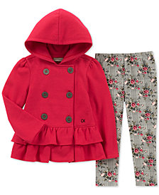 Calvin Klein Little Girls 2-Pc. Hooded Fleece Jacket & Leggings Set