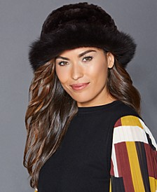 Fox-Trim Rabbit Fur Hat