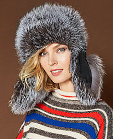 The Fur Vault Fox-Trim Leather Trapper Hat