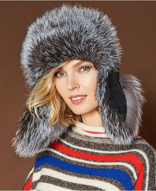 cab4fac1a89b0 The Fur Vault Fox-Trim Leather Trapper Hat. Macy s   Handbags   Accessories    Hats