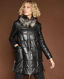 The Fur Vault Fox-Collar Leather Coat