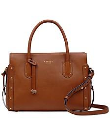 Zip-Top Studded Multiway Leather Satchel
