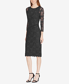 Lauren Ralph Lauren Lace Sheer-Sleeve Dress