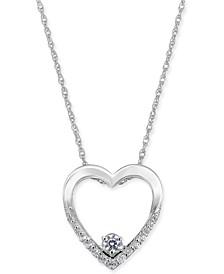 "Diamond Heart 18"" Pendant Necklace (1/5 ct. t.w.) in 14k White Gold"