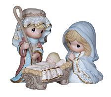 Precious Moments Come Let Us Adore Him Figurines 3 Piece Set