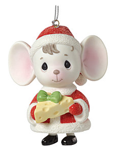 The Holidays Are Mice With You Mouse with Cheese Bell Ornament