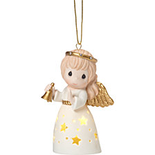 Precious Moments Ringing In Christmas Lighted Angel Ornament