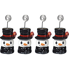 Snow Much Fun Holiday Snowman Place Card Holders 4-Piece Set