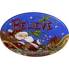 Ne Qwa Art Hand-Painted Glass Believe Santa Serving Plate