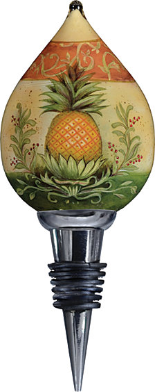 Ne'Qwa Art Hand-Painted Blown Glass Welcome Pineapple Wine Stopper