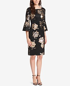 Floral Bell-Sleeve Sheath Dress