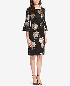 Jessica Howard Floral Bell-Sleeve Sheath Dress