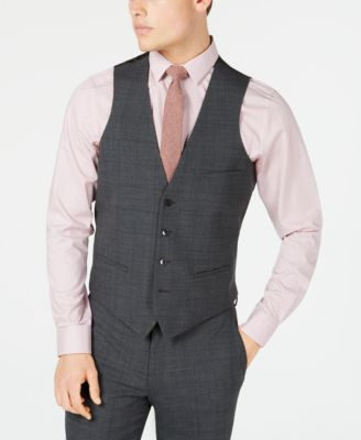 Men's Slim-Fit Active Stretch Gray Windowpane Sharkskin Suit Vest, Created for Macy's
