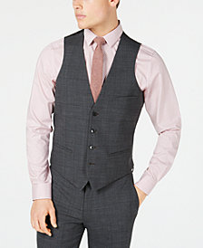 Bar III Men's Slim-Fit Active Stretch Gray Windowpane Sharkskin Suit Vest, Created for Macy's