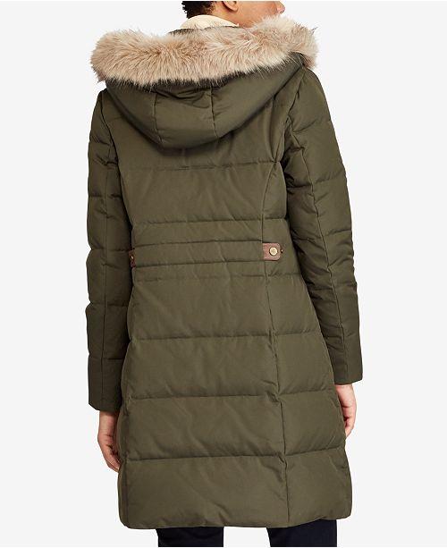 Lauren Ralph Lauren Faux-Fur-Trim Quilted Down Coat ...