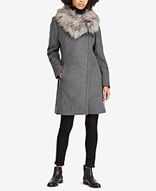 Lauren Ralph Lauren Faux-Fur-Collar Asymmetrical Coat