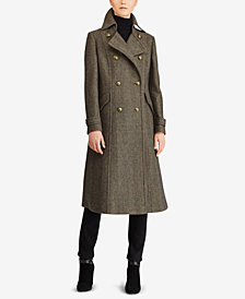 Lauren Ralph Lauren Double-Breasted Herringbone Maxi Coat