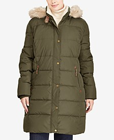 Plus Size Faux-Fur Hooded Puffer Coat
