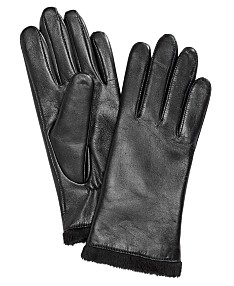 db1b06a97 Charter Club Micro Faux Fur Lined Leather Tech Gloves, Created for Macy's