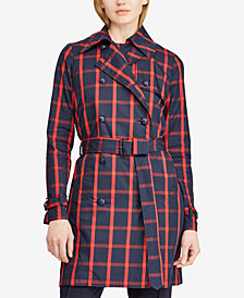 Lauren Ralph Lauren Windowpane Twill Trench Coat