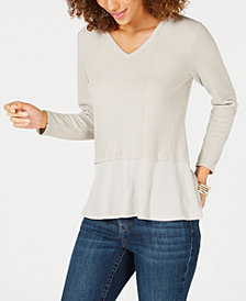 Style & Co Petite Mixed-Media Thermal, Created for Macy's