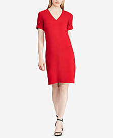 Lauren Ralph Lauren Roll-Tab-Sleeve Shift Dress
