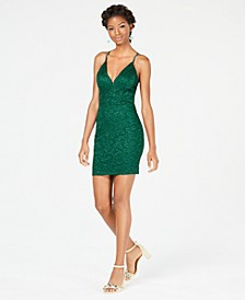 Juniors' Glitter Lace Racerback Bodycon Dress