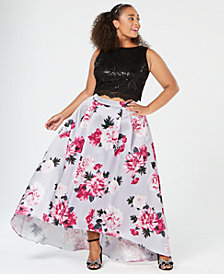 City Studios Trendy Plus Size 2-Pc. Sequin Floral Gown