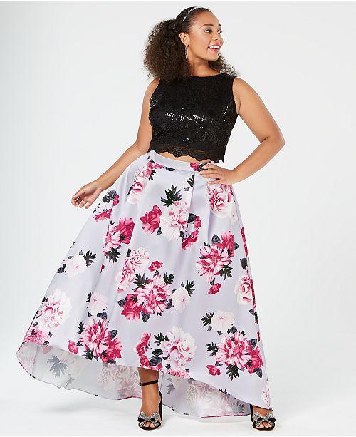 City Studios Trendy Plus Size 2-Pc. Sequin Floral Gown ...