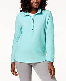 Karen Scott Convertible Snap-Collar Top, Created for Macy's