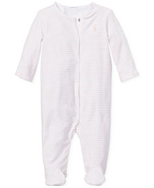 Ralph Lauren Baby Girls Striped Velour Coverall