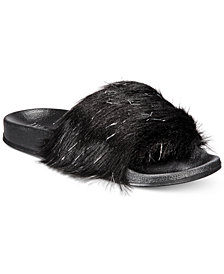 I.N.C. Faux-Fur Slide Slippers, Created for Macy's