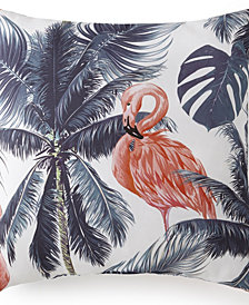 "Flamingo Palms Square Cushion 20""x20"" - Flamingo"