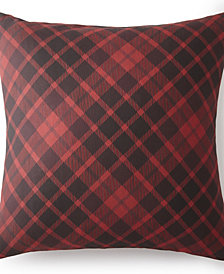 Scrollwork Euro Sham - Red Plaid
