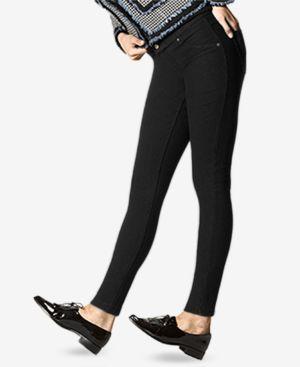 HUE Fleece-Lined Denim Leggings in Black