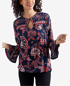 Lucky Brand Floral-Print Bell-Sleeve Top