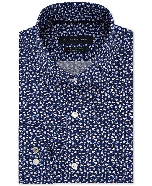 b477ffe0 Tommy Hilfiger Men's Slim-Fit TH Flex Non-Iron Supima Stretch Floral Dress  Shirt