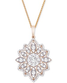 "Wrapped in Love™ Diamond Flower 18"" Pendant Necklace (1-1/2 ct. t.w.) in 14k Gold, Created for Macy's"