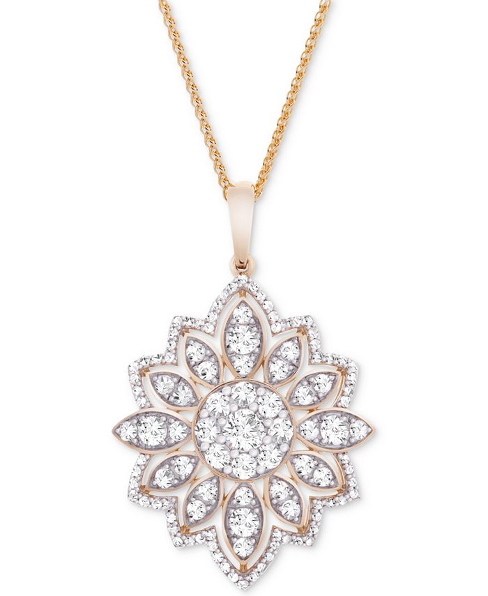 """Wrapped in Love - Diamond Flower 18"""" Pendant Necklace (1-1/2 ct. t.w.) in 14k Gold"""