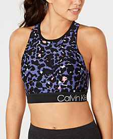 Calvin Klein Performance Printed Strappy-Back Medium-Impact Sports Bra