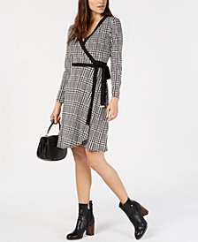 Tommy Hilfiger Houndstooth Wrap Dress, Created for Macy's