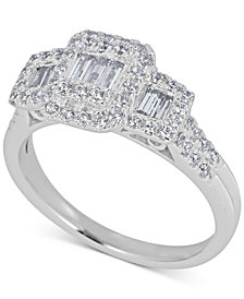 Diamond Baguette Engagement Ring (3/4 ct. t.w.) in 14k White Gold