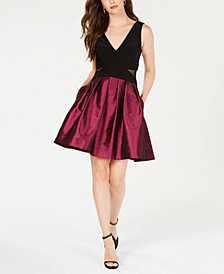 X by Xscape Mesh-Inset Fit & Flare Dress