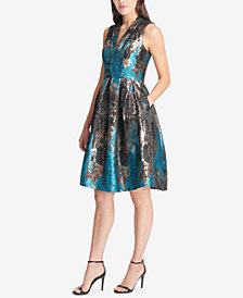 Vince Camuto Jacquard Sleeveless Fit & Flare Dress