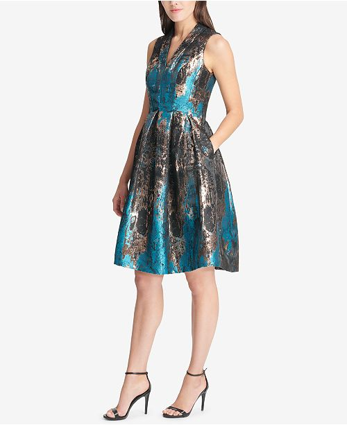 291486cd3a8d Vince Camuto Metallic Jacquard Fit & Flare Dress & Reviews ...
