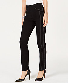 I.N.C. Curvy Contrast-Stitch Straight-Leg Pants, Created for Macy's