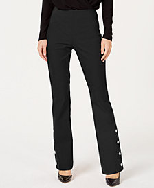 I.N.C. Petite Snap Bottom Boot Leg Pants, Created for Macy's