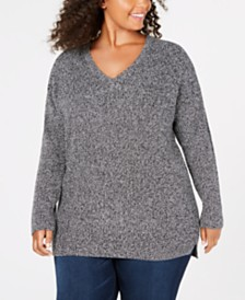 525 America Plus Size Cotton Marled-Knit Sweater