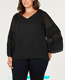 Love Scarlett Plus Size Sheer Blouson-Sleeve Blouse